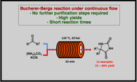 Continuous synthesis of hydantoins: intensifying the Bucherer–Bergs reaction