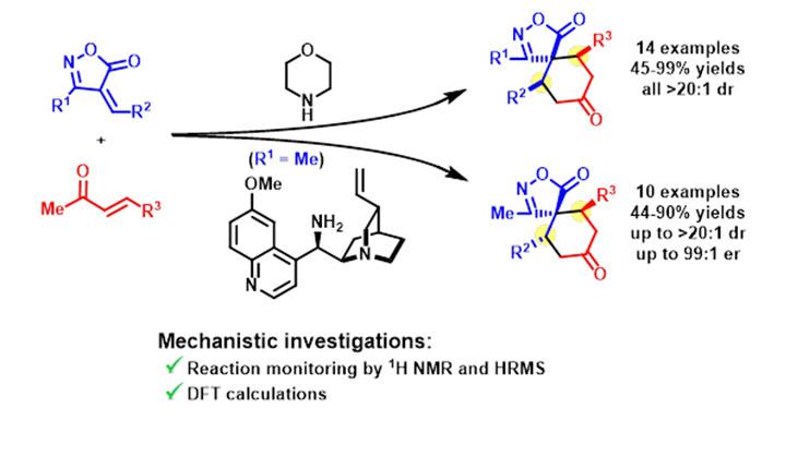 Diastereodivergent Aminocatalyzed Spirocyclization Strategies using 4-Alkylideneisoxazol-5-ones and Methyl Vinyl Ketones